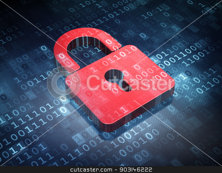Information concept: Red Closed Padlock on digital background stock photo, Information concept: Red Closed Padlock on digital background, 3d render by mkabakov