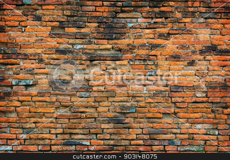 Old Buddhist temple brick wall  background stock photo, Old brick wall of a Buddhist temple - background by Alexey Romanov