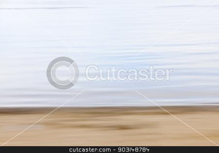 Abstract beach blur stock photo, Background image of sand and water created by horizontal in-camera motion blur by Elena Elisseeva