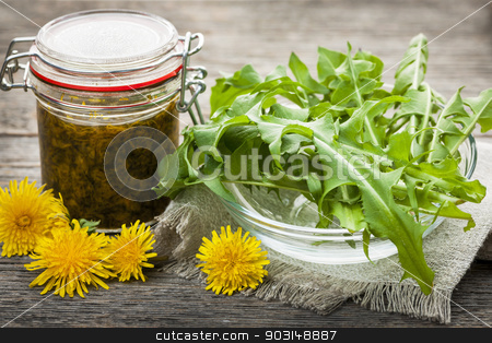 Edible dandelions and dandelion jam stock photo, Foraged edible dandelions flowers and greens with jar of dandelion preserve by Elena Elisseeva