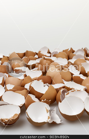 Broken eggshells stock photo, Pile of many broken brown empty eggshells by Elena Elisseeva