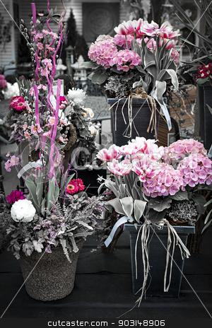 Pink flower arrangements stock photo, Several pink spring floral arrangements for sale at the florist by Elena Elisseeva