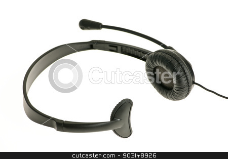 Headset with microphone stock photo, Black headset with one earpiece and microphone isolated on white background by Elena Elisseeva