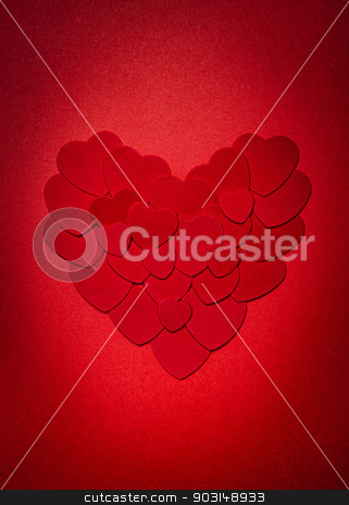 Red Valentines day heart stock photo, Romantic heart made of many smaller red paper hearts for valentines day by Elena Elisseeva