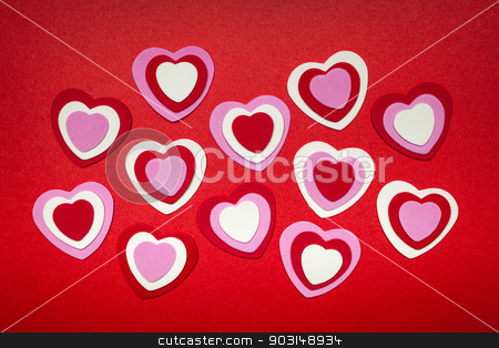 Red and pink Valentines day hearts stock photo, Romantic red pink and white hearts for Valentines day by Elena Elisseeva