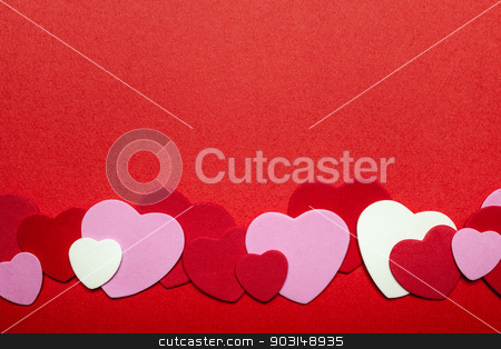 Red and pink Valentines day hearts background stock photo, Border of romantic red pink and white hearts for Valentines day by Elena Elisseeva