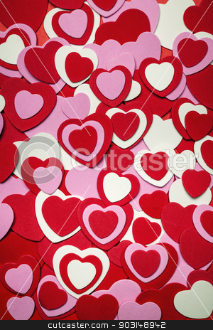 Red and pink Valentines day hearts stock photo, Heart background for Valentine's day made with pink and red hearts by Elena Elisseeva