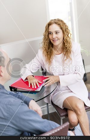 Coworkers at business meeting in office stock photo, Man and woman discussing business in office by Elena Elisseeva