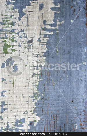 Old painted wood background stock photo, Background of old distressed wood board with peeling paint by Elena Elisseeva