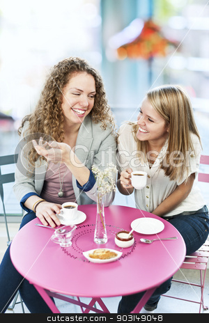 Two women having coffee stock photo, Two smiling women meeting for coffee in cafe and laughing by Elena Elisseeva
