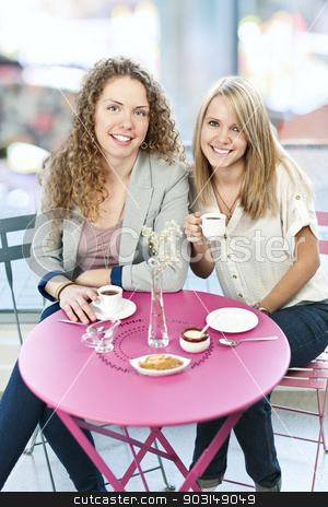 Two women having coffee stock photo, Two smiling women meeting for coffee in cafe by Elena Elisseeva