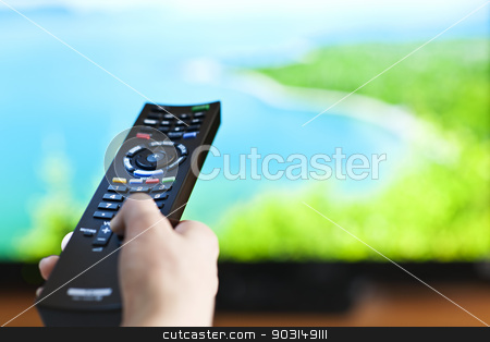 Hand with television remote control stock photo, Hand holding television remote control pressing buttons by Elena Elisseeva