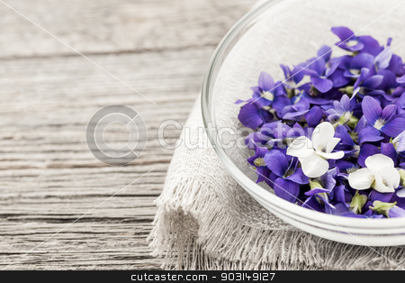 Edible violets in bowl stock photo, Foraged edible purple and white violet flowers in bowl on wood background with copy space by Elena Elisseeva