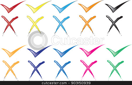 ticks and crosses stock vector clipart, ticks and crosses by STAR ILLUSTRATION