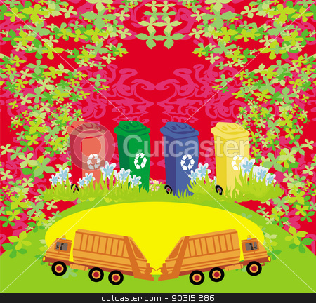 segregation of garbage card  stock vector clipart, segregation of garbage card  by Jacky Brown