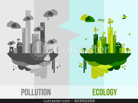 Green environment concept illustration stock vector clipart, Go green environment illustration. Ecology and pollution city concept. EPS10 vector organized in layers for easy editing. by Cienpies Design