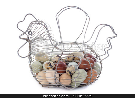 eggs basket stock photo, eggs basket in front of white background by Bonzami Emmanuelle