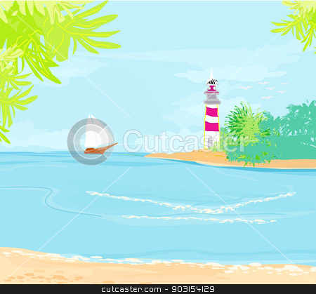 lighthouse seen from a tiny beach  stock vector clipart, lighthouse seen from a tiny beach  by Jacky Brown