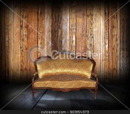 abstract view of lodge interior stock photo, abstract view of wooden  lodge interior with beautiful sofa by coroiu octavian