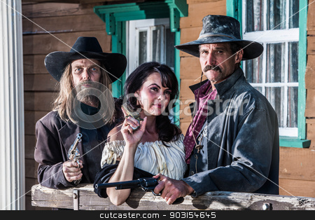 Old West Portrait stock photo, Portrait of three old west citizens by Scott Griessel