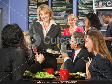 Embarrssed Cafe Owner stock photo, Embarrassed cafe manager with group of unsatisfied customers by Scott Griessel