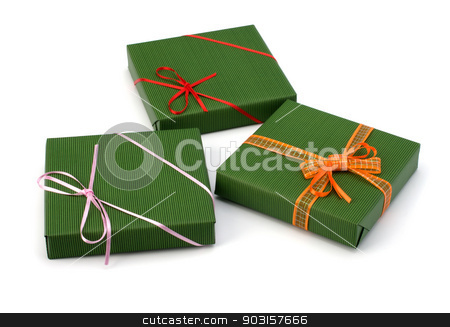 gifts stock photo, gifts isolated on white background close up by Natika