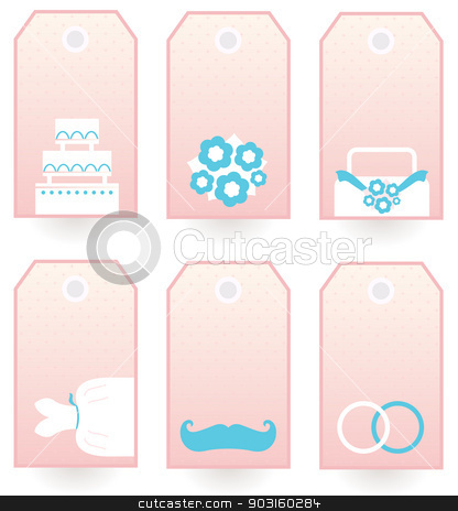 Wedding labels set isolated on white ( pink & blue ) stock vector clipart, Set of retro Wedding blank labels or tags. Vector Illustration  by BEEANDGLOW