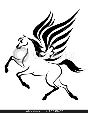 Pegasus horse with wings stock vector clipart, black pegasus horse with wings. Vector illustration by Anzhela Buch