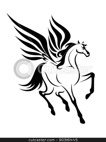 Pegasus horse stock vector clipart, Black pegasus horse with wings for tattoo. Vector illustration by Anzhela Buch