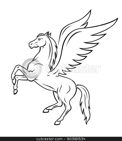Pegasus horse stock vector clipart, White pegasus horse with wings. Vector illustration by Anzhela Buch