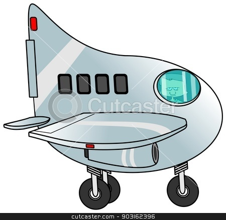 Boy piloting a jet plane stock photo, This illustration depicts a boy taxiing a jet plane. by Dennis Cox