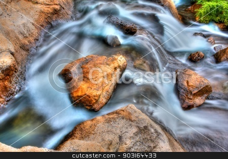 Rocky Falls in High Dynamic Range stock photo, The silky water effect makes the water look like fog in High Dynamic Range by Joseph Fuller