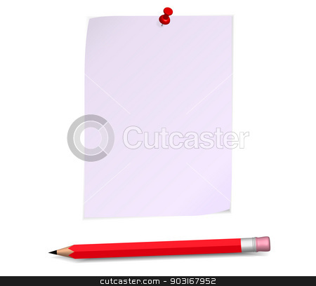 Paper page stock vector clipart, Paper page with red pencil by robuart