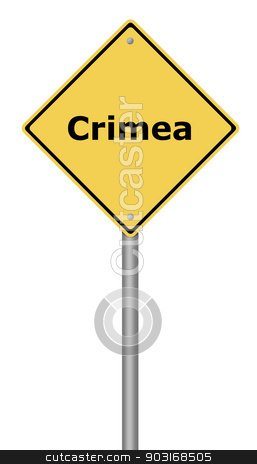 Warning Sign Crimea stock photo, Yellow warning sign with the text Crimea. by Henrik Lehnerer