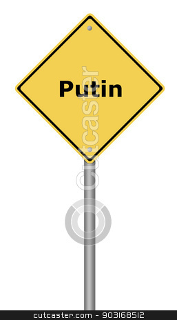 Warning Sign Putin stock photo, Yellow warning sign with the text Ptuin. by Henrik Lehnerer