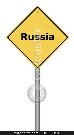 Warning Sign Russia stock photo, Yellow warning sign with the text Russia. by Henrik Lehnerer