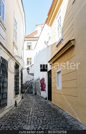A small narrow street in the old town area of Prague stock photo, A small narrow street in the old town area of Prague, Czech Republic. by Artush