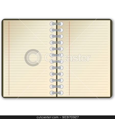 Open notebook stock photo, Open notebook with blank page in white background by Elenarts