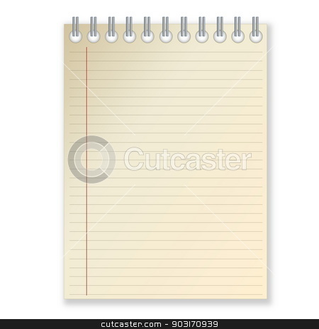 Notebook stock photo, Notebook with blank page in white background by Elenarts
