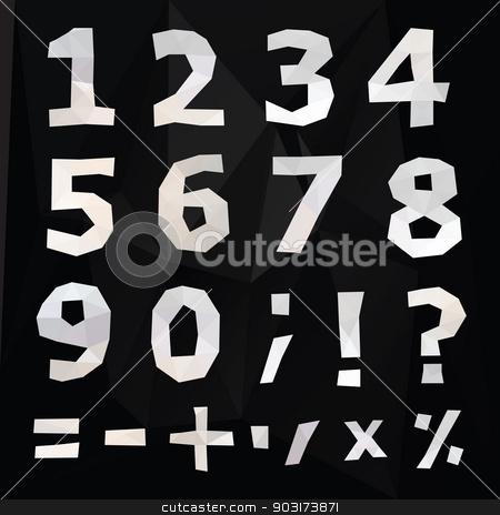 Polygonal number set. stock photo, Polygonal number set. Geometrical style. Vector illustration. by Katyau