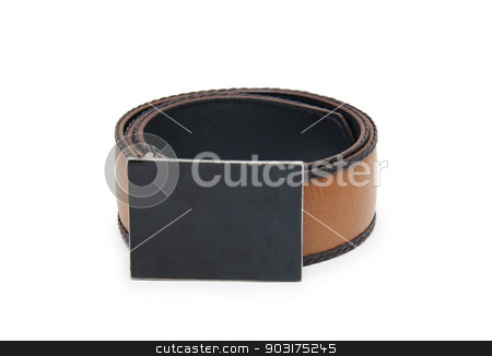 beautiful and the leather belt on a white background stock photo, beautiful and the leather belt on a white background by Narmina