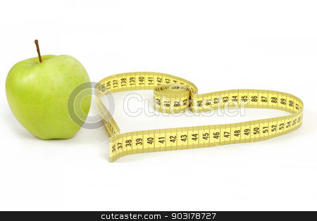 green apple with a measuring tape and heart symbol isolated stock photo, green apple with a measuring tape and heart symbol isolated on white background  by Artush