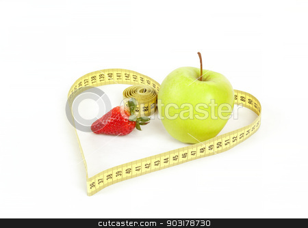 green apple with a measuring tape and heart symbol isolated stock photo, green apple and strawberry with a measuring tape and heart symbol isolated on white background  by Artush