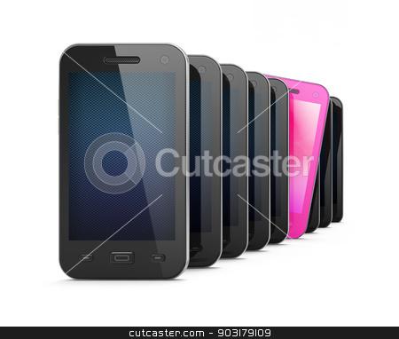 Beautiful pink smartphone among many black smartphones stock photo, Beautiful pink smartphone among many black smartphones on white backgrpund by mkabakov
