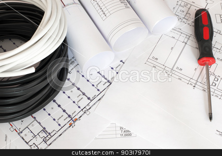 Electrical cable on the construction drawings stock photo, Electrical cable on the construction drawings. Repair and construction of electric systems by cherezoff