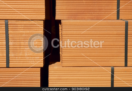 Bricks background. Orange. Horizontal. Blocks. stock photo, Orange bricks background. Horizontal. Blocks. by ABBPhoto