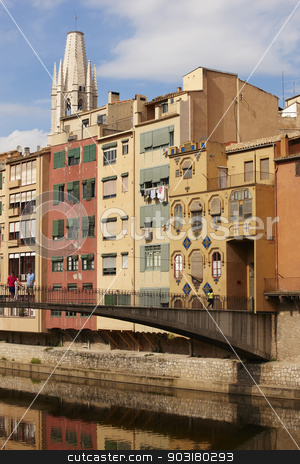 Spain. Catalonia. Girona. Onar colorful old houses facades. stock photo, Spain. Catalonia. Girona. Onar river colorful old house facades. by ABBPhoto