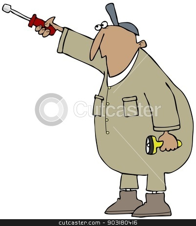 Worker with a nut driver stock photo, This illustration depicts a man wearing coveralls holding a nut driver and flashlight. by Dennis Cox