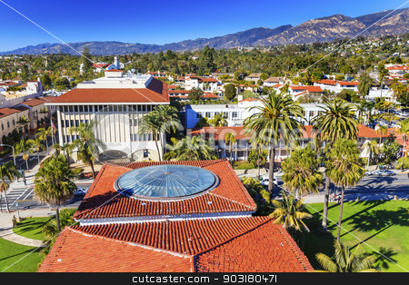 Court House Orange Roofs Buildings Mission Houses Santa Barbara  stock photo, Court House Administration Buildings Orange Roofs Houses Mission Mountains Santa Barbara California  by William Perry