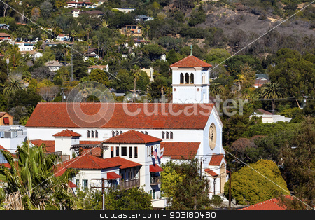 White Adobe Methodist Church Cross Santa Barbara alifornia  stock photo, White Abobe Methodist Church Cross Steeple Bell Santa Barbara California. by William Perry